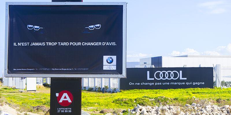 En photos : Les clins d'oeils de BMW et AUDI Tunisie en Affichage Urbain