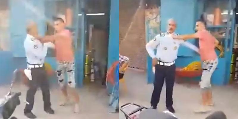 بالفيديو : اعتداء على عون امن بالعنف في بنزرت