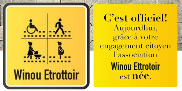 Naissance officielle de l'association WINOU ETROTTOIR