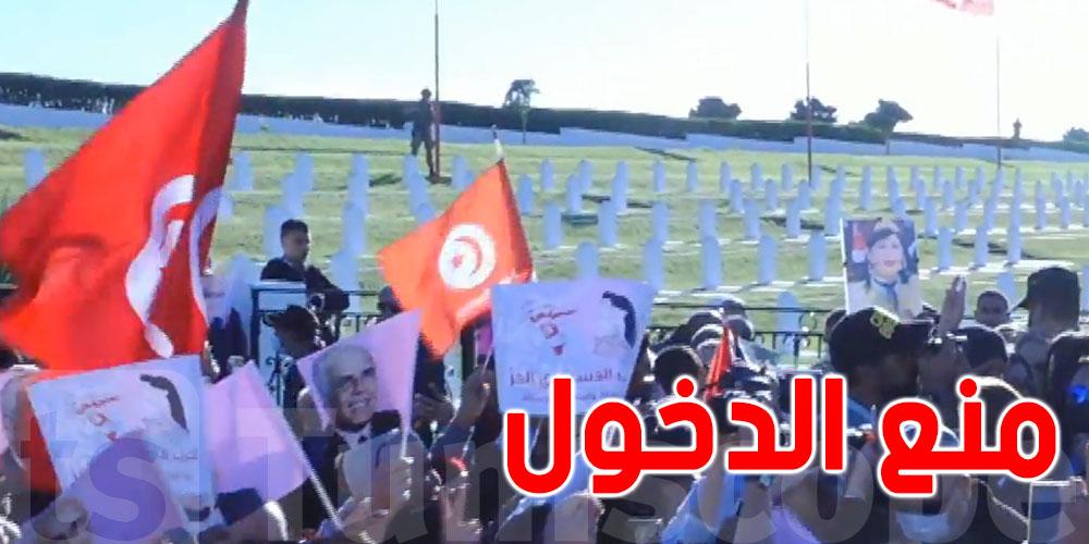 عبير موسي من أمام روضة الشهداء بمدينة بنزرت ''الرئيس يحب كان هو يدخل اليوم''