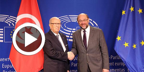 بالفيديو : رئيس البرلمان الأوروبي مارتن شولدز يستقبل الباجي قايد السبسي