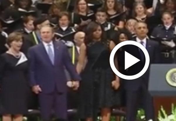 En vidéo : Quand George W. Bush a le cœur à la danse aux funérailles des policiers morts à Dallas !
