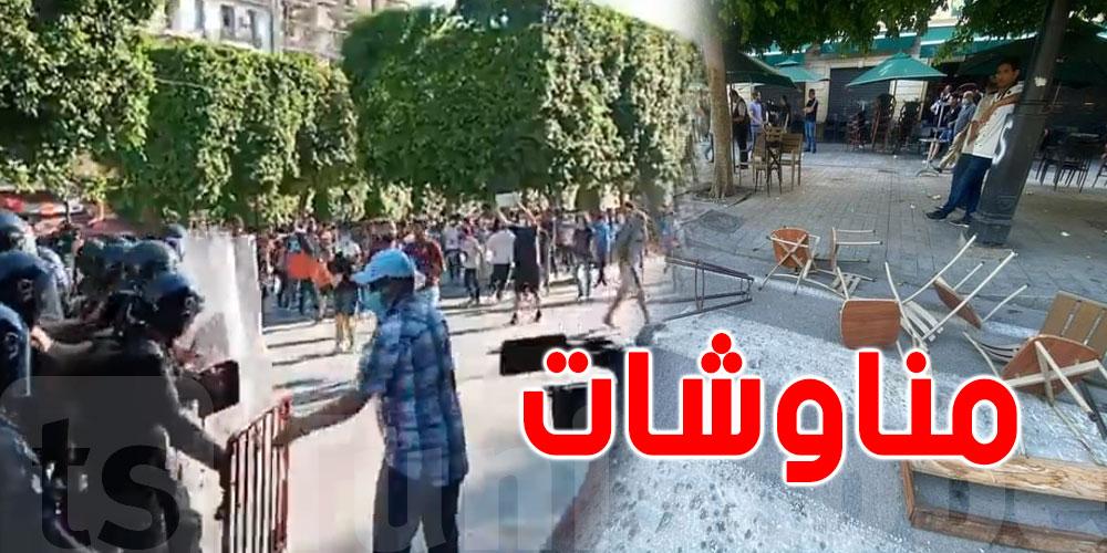 بالفيديو..تخريب ومناوشات وكر وفر بشارع الحبيب بورقيبة