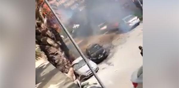 بالفيديو : اشتعال نيران في سيارتين امام مقر حركة النهضة بمونبليزير