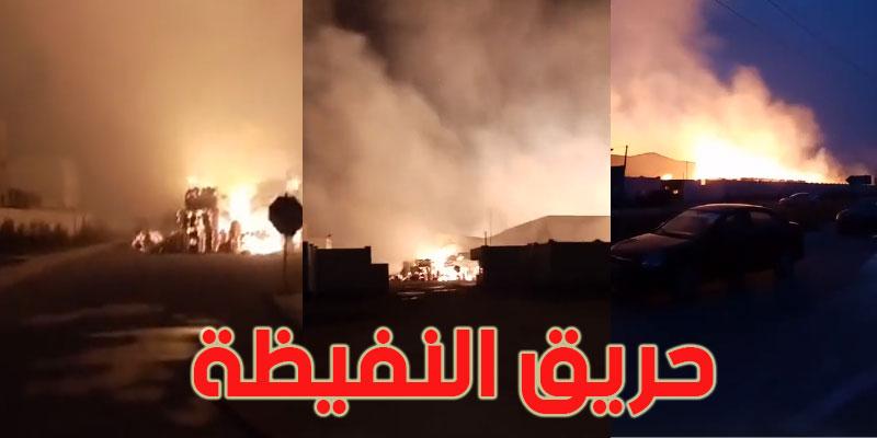 بالفيديو : حريق هائل في مصنع للمناديل الورقية بالنفيضة