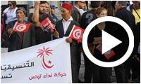 Ambiance devant le siège de Nidaa Tounes