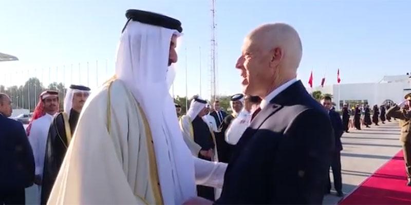 بالفيديو، سعيد في وداع أمير قطر ''و كأني أعرفك منذ زمن بعيد ''