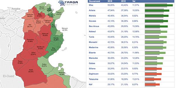 Carte interactive des Résultats Baccalauréat  2016 par région