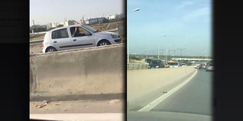 فيديو لسيارة تسير بسرعة جنونية في الإتجاه المخالف يثير ضجة..